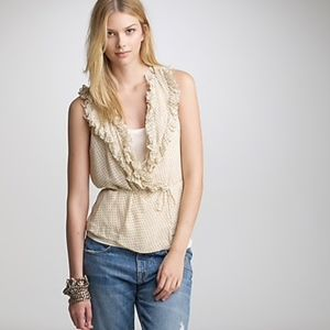 J. Crew Dot Chiffon Betsy Wrap Top Silk
